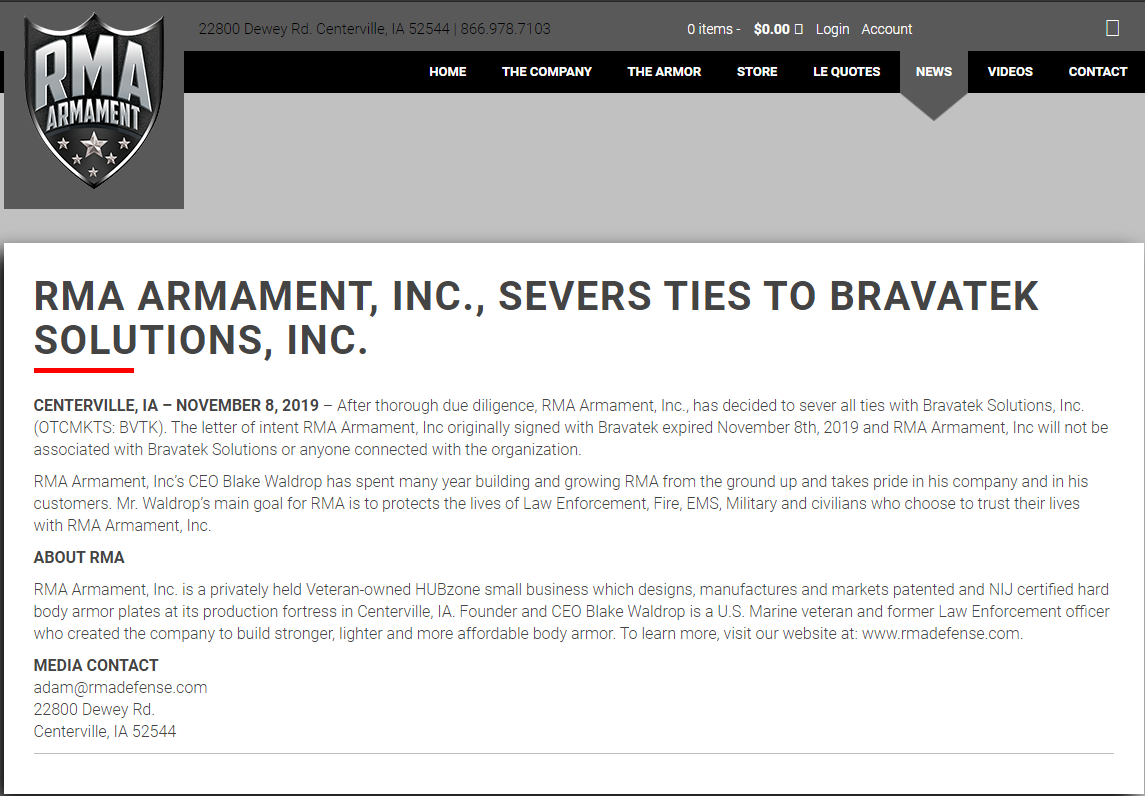 RMA Armament severs any and all business ties with Bravatek & Tom Cellucci
